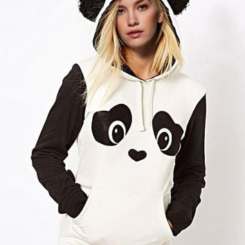 Panda Ear Shape Pattern Hooded Fleece Pullover Hoodie