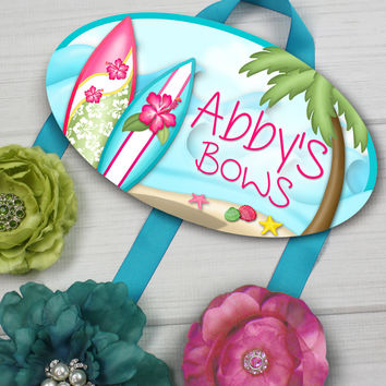 HAIR BOW HOLDER - Personalized Surf Board Ocean HairBow Holder Organizer Girls Personal Hair Bow and Clip Hanger HB0174