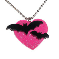 Flying Bat Necklace on Pink Glitter Heart, Cute Creepy Necklace