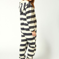 Claire Supersoft Striped Fleece Hooded Onesuit