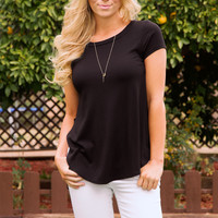 Easy Going Ribbed Top - Black