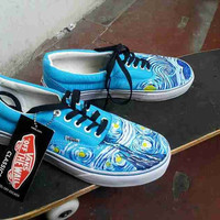 ab8aad38f15a9a Vincent Van Gogh vans shoes Starry Night hand painted vans shoes Custom  Vincent Van Gogh Painted