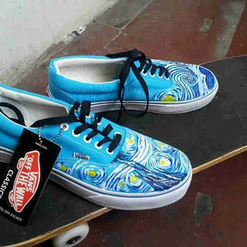 Vincent Van Gogh vans shoes Starry Night hand painted vans shoes Custom Vincent Van Gogh Painted On Vans Shoes