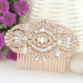 Bella Fashion The Great Gatsby Bridal Hair Comb Austrian Crystal Wedding Hair Piece Accessories For Women Party Jewelry Gift