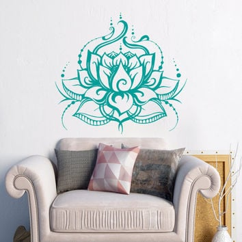 Lotus Wall Decal Lotus Flower Wall Decal Yoga Wall Art Bohemian Wall Decal Boho Decor Bedroom Decor Namaste Decal Yoga Studio Decor S21