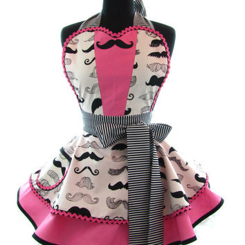 Retro Apron -  Pink Mustache Tux Sexy Womans Aprons - Vintage Apron Style - Geekery Pin up Rockabilly Cosplay