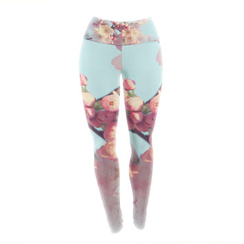 "Sylvia Cook ""Waiting for Spring"" Pink Blue Yoga Leggings"
