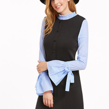 Contrast Striped Button Front With Bell Sleeve Dress