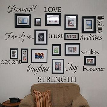 Family Words Wall Decal Set of 12 love trust blessing smile Quotes Vinyl Wall Sticker Picture Wall Decal Room Art Decoration