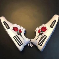 Adidas: NMD OFF-WHITE Knit roses running shoes H