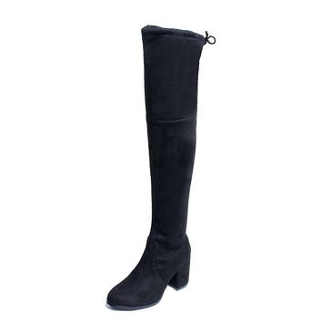 Slim Women's Boots Fashion Over Knee Suede Boots For Women's Shoes Real Sheepskin High Heels Boots Thigh High Shoes