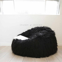 Long Shaggy Fur Black Cloud Chair Beanbag