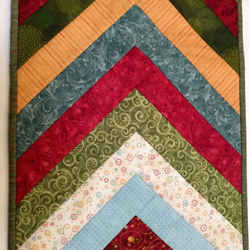 Christmas Table Runner Quilted using Benartex in Reds, Teals and Gold
