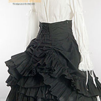 Classical Gothic Lolita:Bustle Tiered Cotton Skirt