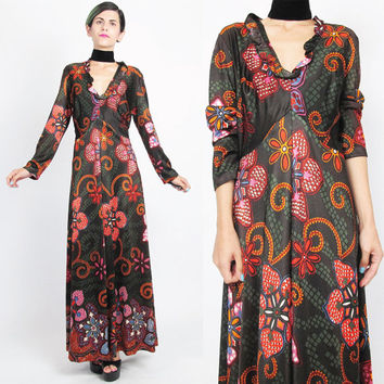 1970s Psychedelic Dress 70s Floral Maxi Dress Long Sleeve Dress Strawberry Print Dress Brown Red Abstract Jersey V Neck Empire Waist (M/L)