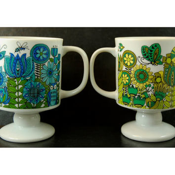Vintage Mug Pair, Porcelain Pedestal Mugs, Yellow Blue Green Funky Flowers and Critters, Made in Japan