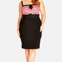 Plus Size Women's City Chic 'Hello Sailor' Belted Dress