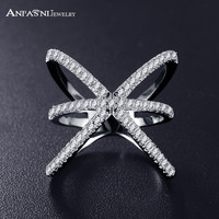 ANFASNI Trendy Rose Gold Plated Ring X Shape Cross Rings with Micro Paved Cubic Zirconia Rings For Women Bague Femme CRI1051