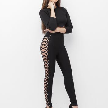YETI LACE UP HIGH WAISTED BANDAGE PANT