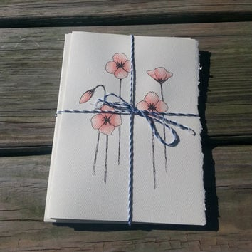 Set of FOUR Poppy Notecards, Hand Painted Stationary, Custom Greeting Cards, Original Watercolor Art