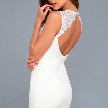 Higher Love White Lace Backless Bodycon Dress