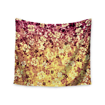 "Ebi Emporium ""Flower Power in Yellow"" Orange Glitter Wall Tapestry"