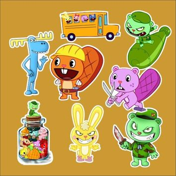 8pc/Lot Happy Tree Friends Kids Toys Brand Graffiti Stickers Scrapbooking Skateboard Waterproof PVC Laptop Luggage Stickers Pack
