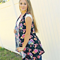 Sleeveless Summer Floral Cardigan S-XL