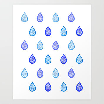 Blue raindrops Art Print by Savousepate
