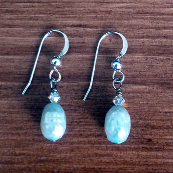 Oval White Mother-of-Pearl Earrings