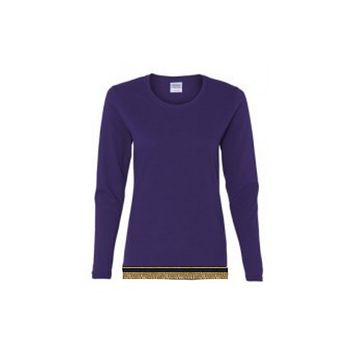 Women's Purple Long Sleeve T-shirt With Fringes