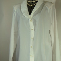 Vintage Swann Professional White Blouse from the 1980s Approx. Modern Size XL