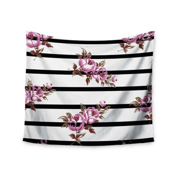 "NL Designs ""Purple Floral Stripes"" Black White Wall Tapestry"