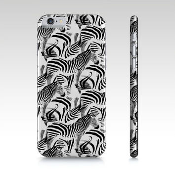 Black & White Zebra Stripes, iPhone 6S, 5S, 4S, iPad Mini 2,3 or 4, Phone Case, Blue Petals Cell Phone Case ipad mini case, accessories