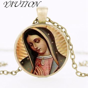 Our Lady of Guadalupe pendant Necklace Virgin Mary Sacred Heart Religious Art