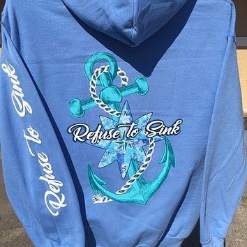 Southern Attitude Anchor Refuse To Sink Pullover Shirt Hoodie