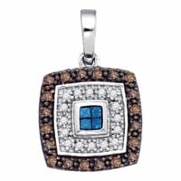 10kt White Gold Women's Blue Cognac-brown Color Enhanced Diamond Square Frame Pendant 3-8 Cttw - FREE Shipping (US/CAN)