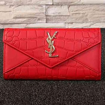 Perfect YSL Yves Saint Laurent Women Fashion Leather Buckle Wallet Purse