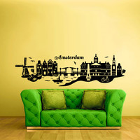 Wall Vinyl Sticker Decals Decor Bedroom Amsterdam Holland Poster City Town (z944)