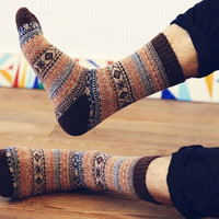 Stylish Vintage Tribal Pattern Wool Socks for Men,Short/ Medium Cotton Socks,Christmas Gift, Men Socks, Wool Socks, Warm Socks