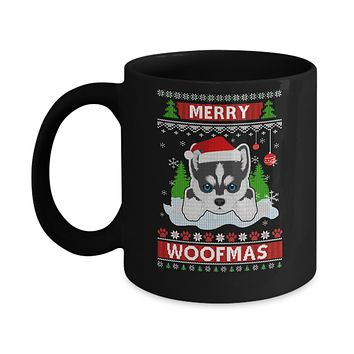 Siberian Husky Merry Woofmas Ugly Christmas Sweater Mug