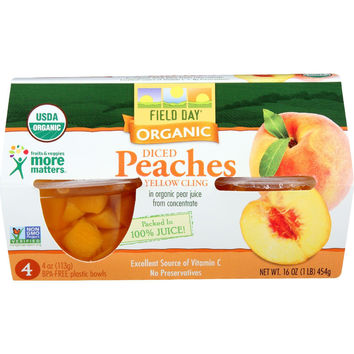 Field Day Fruit Cups - Organic - Yellow Cling Peaches - Diced - 4-4 Oz - Case Of 6