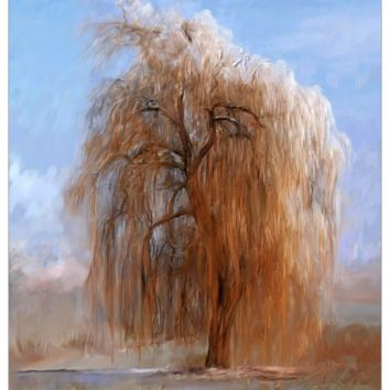 The Lone Willow Tree - Fabric Poster Print 299