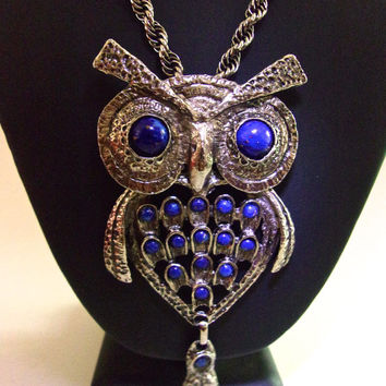 Huge Owl Glass Blue Lapis Pendant Necklace, Articulated Bird in Silver Tone, Vintage
