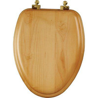 Wood Veneer Toilet Seat with Brass Hinges Elongated Natural Oak Potty New