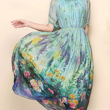 Short Sleeve Floral Print High Waist Ruched A-Line Maxi Dress