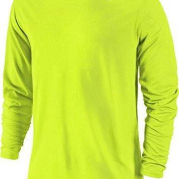 Nike Mens Legend Poly Long Sleeve Dri-Fit Training Shirt Volt/Carbon Heather 377780-731 Size Large
