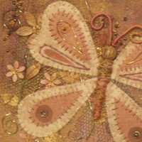A mixed media embroidery of a butterfly, applique butterfly wall art, hand stitched decorative butterfly picture