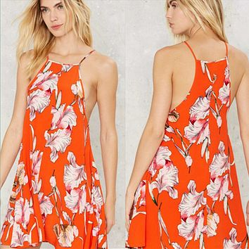 Fashion Flower Print Sleeveless Strap Mini Dress