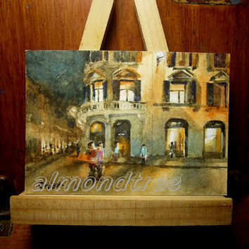 peinture, miniature, wall art, Italy Rome Piazza di Spagna ACEO id1320716 Original watercolor, not a print, landscape, night